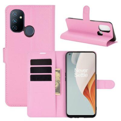 OnePlus Nord N100 Suojakotelo Vaaleanpunainen Lompakko