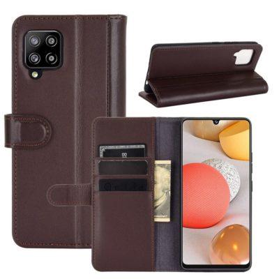 Samsung Galaxy A42 5G Nahkakotelo Tummanruskea
