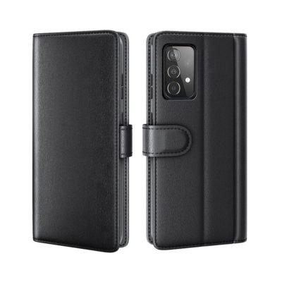 Samsung Galaxy A52 / A52 5G Kotelo Musta Nahka