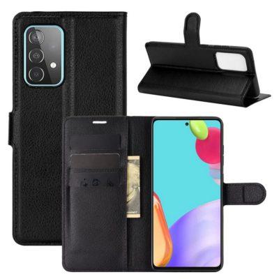 Samsung Galaxy A52 / A52 5G Kotelo PU-Nahka Musta