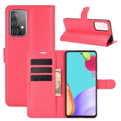 Samsung Galaxy A52 / A52 5G Kotelo PU-Nahka Punainen
