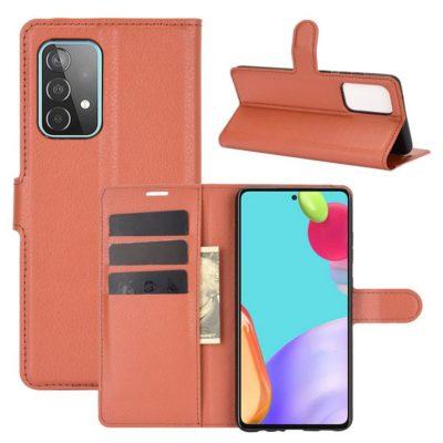 Samsung Galaxy A52 / A52 5G Kotelo PU-Nahka Ruskea