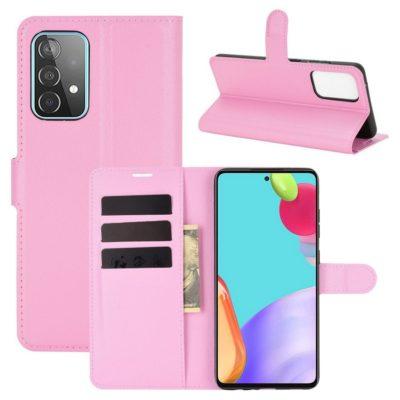 Samsung Galaxy A52 / A52 5G Kotelo PU-Nahka Vaaleanpunainen