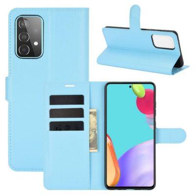 Samsung Galaxy A52 / A52 5G Kotelo PU-Nahka Vaaleansininen