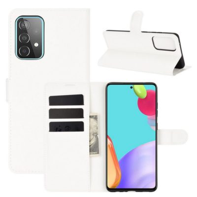 Samsung Galaxy A52 / A52 5G Kotelo PU-Nahka Valkoinen
