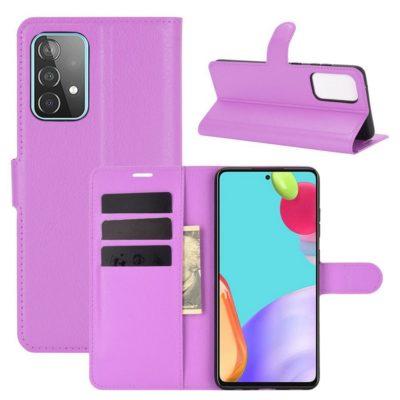 Samsung Galaxy A52 / A52 5G Kotelo PU-Nahka Violetti