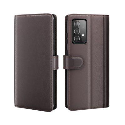 Samsung Galaxy A52 / A52 5G Kotelo Tummanruskea Nahka
