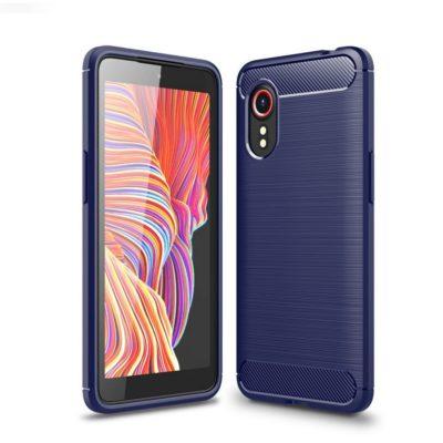 Samsung Galaxy Xcover 5 Suojakuori Hiilikuitu Sininen