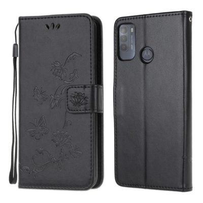 Motorola Moto G50 5G Kotelo Kukka Musta