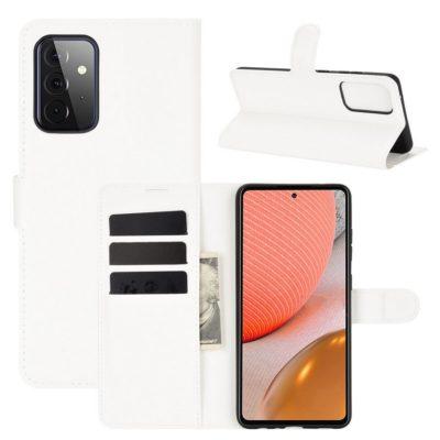 Samsung Galaxy A72 Kotelo PU-Nahka Valkoinen