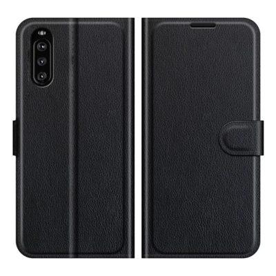 Sony Xperia 10 III Kotelo PU-Nahka Musta