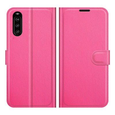 Sony Xperia 10 III Kotelo PU-Nahka Pinkki