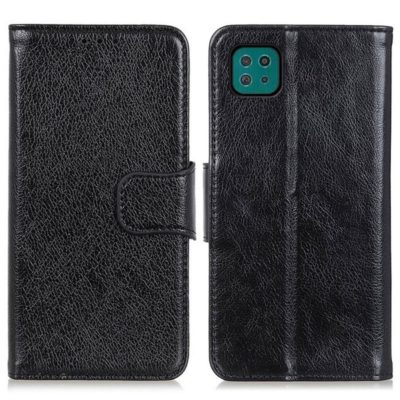 Samsung Galaxy A22 5G Kotelo Musta Nahka