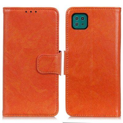 Samsung Galaxy A22 5G Kotelo Oranssi Nahka