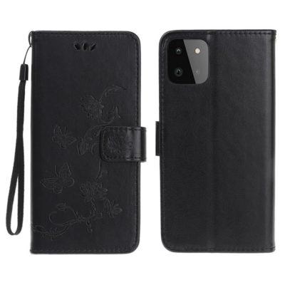 Samsung Galaxy A22 5G Suojakotelo Kukka Musta