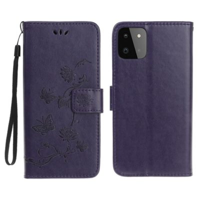 Samsung Galaxy A22 5G Suojakotelo Kukka Tummanvioletti