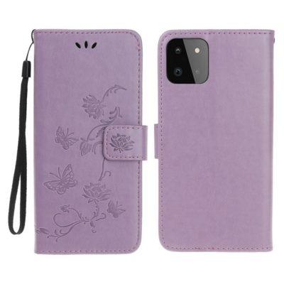Samsung Galaxy A22 5G Suojakotelo Kukka Vaaleanvioletti
