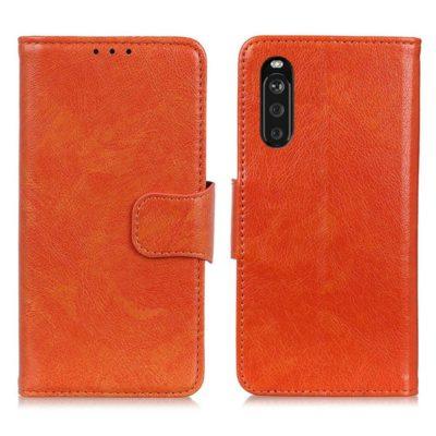 Sony Xperia 10 III Suojakotelo Oranssi Nahka