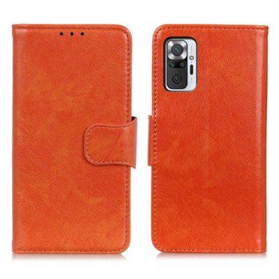 Xiaomi Redmi Note 10 Pro Kotelo Oranssi Nahka