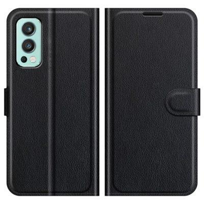 OnePlus Nord 2 5G Kotelo PU-Nahka Musta