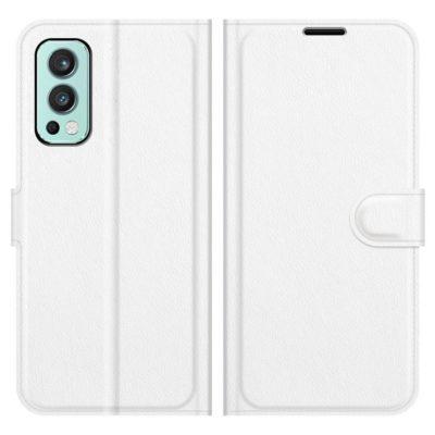 OnePlus Nord 2 5G Kotelo PU-Nahka Valkoinen
