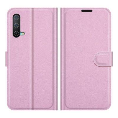 OnePlus Nord CE 5G Kotelo PU-Nahka Vaaleanpunainen