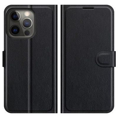 Apple iPhone 13 Pro Kotelo PU-Nahka Musta