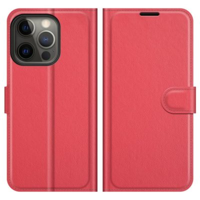 Apple iPhone 13 Pro Kotelo PU-Nahka Punainen