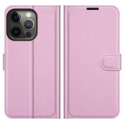 Apple iPhone 13 Pro Kotelo PU-Nahka Vaaleanpunainen