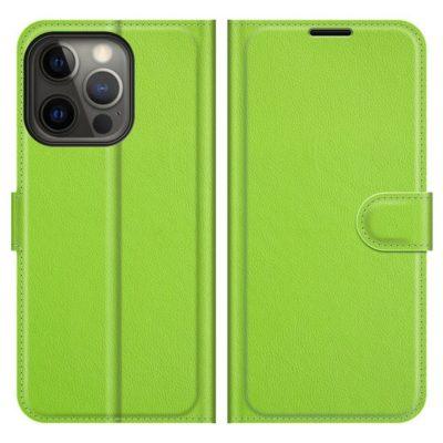 Apple iPhone 13 Pro Kotelo PU-Nahka Vihreä