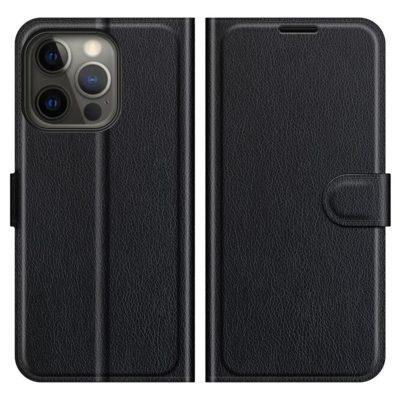 Apple iPhone 13 Pro Max Kotelo PU-Nahka Musta