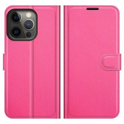 Apple iPhone 13 Pro Max Kotelo PU-Nahka Pinkki