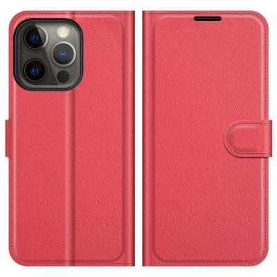 Apple iPhone 13 Pro Max Kotelo PU-Nahka Punainen