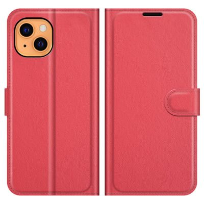 Apple iPhone 13 Suojakotelo PU-Nahka Punainen
