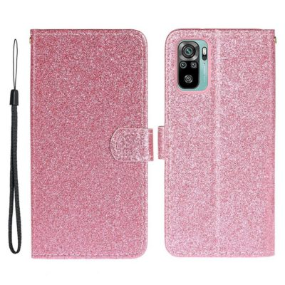Xiaomi Redmi Note 10S Kotelo Glitter Pinkki