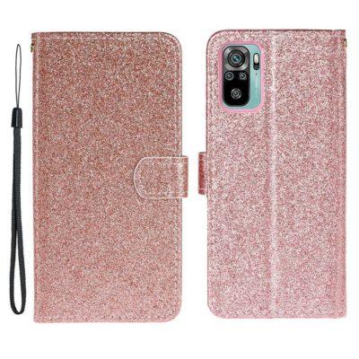 Xiaomi Redmi Note 10S Kotelo Glitter Ruusukulta