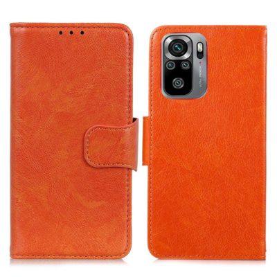 Xiaomi Redmi Note 10S Kotelo Oranssi Nahka